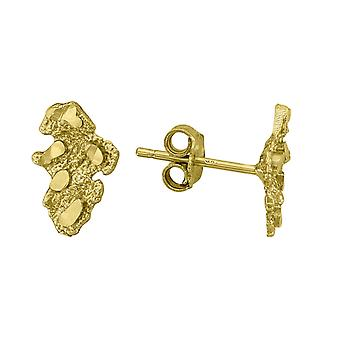 10k Yellow Gold Mens Nugget Textured Stud Boucles d'oreilles Mesures 11x7.10mm Wide Jewelry Gifts for Men