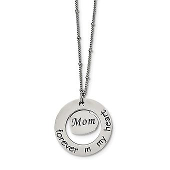 Stainless Steel Polished Mom Forever In My Love Heart Necklace 30 Inch Jewelry Gifts for Women