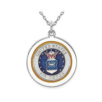 U.S. Air Force Pendant Necklace Disc in Sterling Silver with Chain