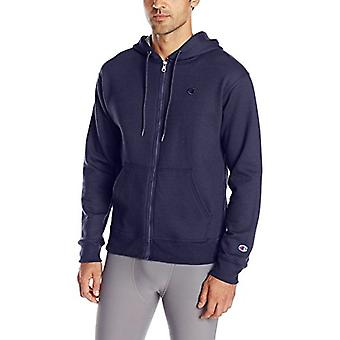 Champion Men's Powerblend Full-Zip Hoodie, Navy, Small, Navy, Size Small