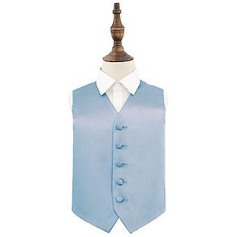 Dusty Blue Plain Satin Wedding Waistcoat for Boys