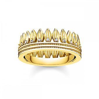 Thomas Sabo Magic Garden Gold & weiß Zirkonia Blätter Krone Ring