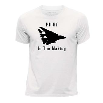 STUFF4 Boy's Round Neck T-Shirt/Funny Pilot In The Making/White