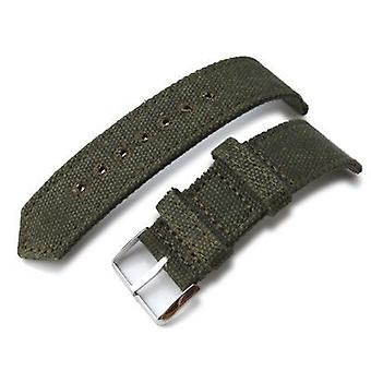 Strapcode fabric watch strap 20mm, 21mm or 22mm miltat ww2 2-piece military green washed canvas watch band with lockstitch round hole, polished