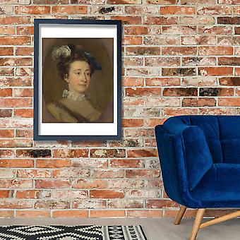 William Hogarth - Girl in a Plumed Hat Poster Print Giclee