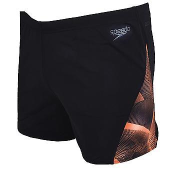 Speedo Mens Digital Curve Panel Swimwear Swimming Shorts Trunks - Black/Orange
