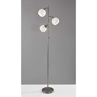 Floor Lamp Brushed Steel Metal Three Adjustable Globes