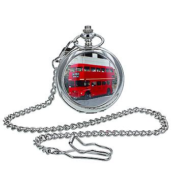 Boxx Gents White Dial, Red London Bus Cover Design, Silvetone Metal Case Pocket Watch and Chain BOXX411