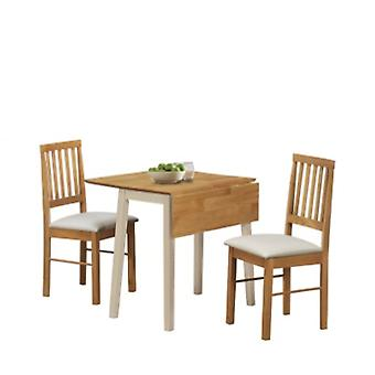 LILLE DROP LEAF DINING SET CREAM & OAK