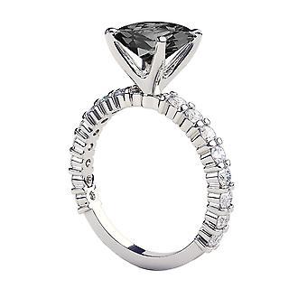 2.90 CTW 14K White Gold Black Diamond Ring with Diamonds Princess Cut Unique