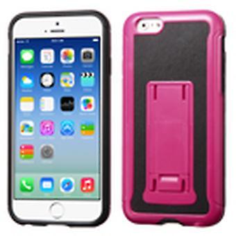Asmyna cuero respaldo avanzada armería funda de pie para iPhone 6/6S - rosa caliente / negro