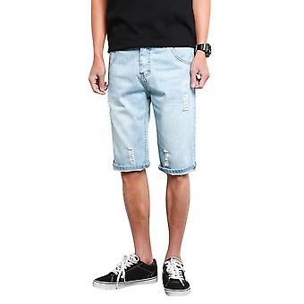 Allthemen Men's Solid Color Multi Pocket Straight Senim Shorts