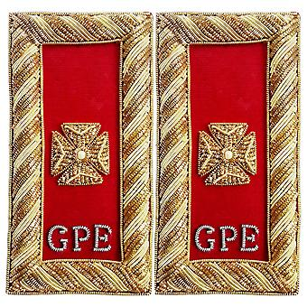 Knights templar shoulder boards - bullion embroidery