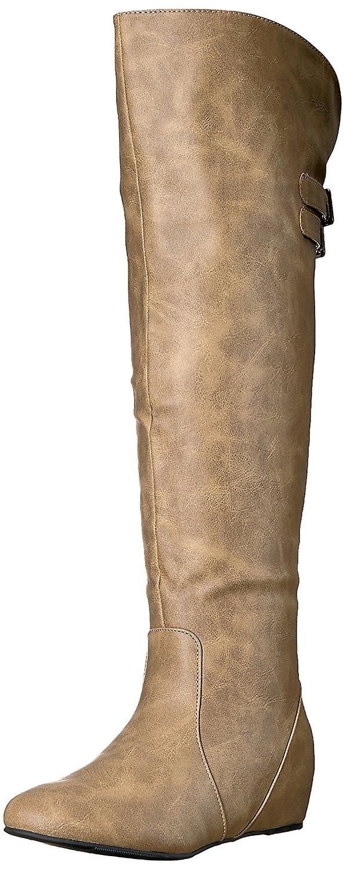 Brinley Co Anioł damski skóra migdałowa toe kolano wysokie buty mody f5go2