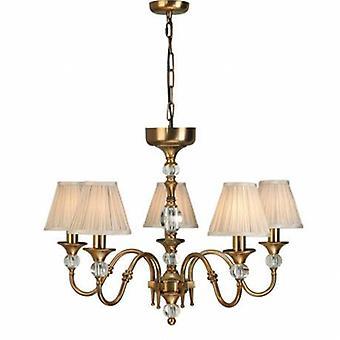 5 Light Multi Arm Ceiling Pendant Chandelier Antique Brass