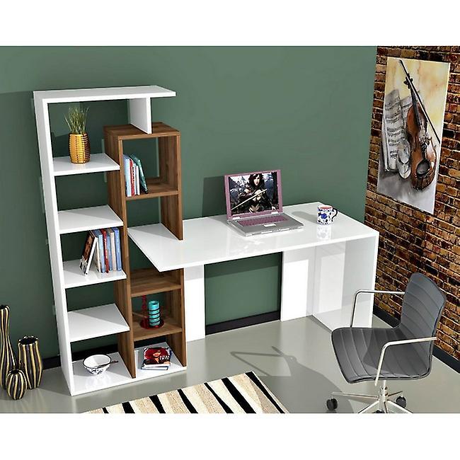 Poly Color White bureau, Écrou à puce melaminique, PVC 181.8x60x148.2 cm