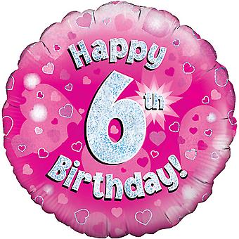 Oaktree 18 Inch Happy 6th Birthday Pink Holographic Balloon