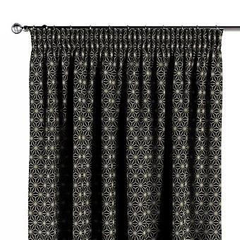 Vorhang mit Kräuselband, schwarz-beige, 130 × 260 cm, Black & White, 142-56