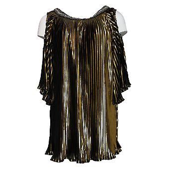 Masseys Women's Top Metallic Pleated Blouse Gold/Black