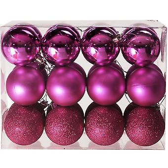 24 Fuschia Rose 8cm Shatterproof Christmas Tree Bauble Décorations