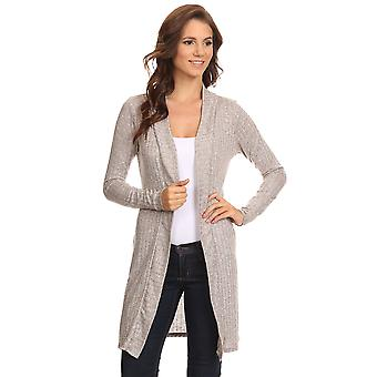 Women's Ribbed Open Front Long Sleeve Cardigan