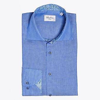 Stenstroms  - Linen Pattern Inlay Shirt - Blue