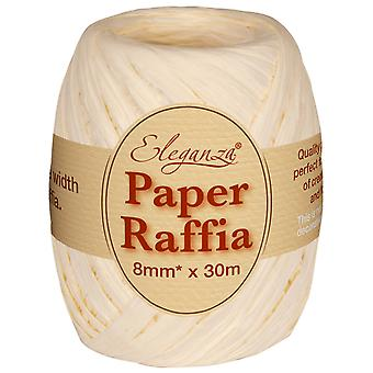 Ivory 8mm x 30m Paper Raffia Ribbon Roll - Recyclable & Biodegradable