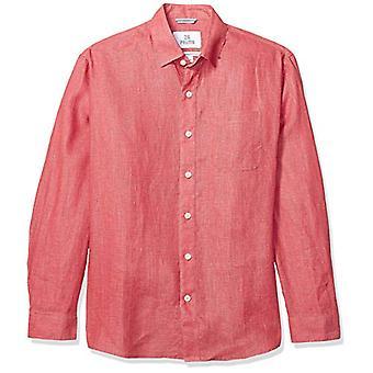 28 Palms Men's Relaxed-Fit Long-Sleeve 100% Linen Shirt, Nantucket Red, Medium