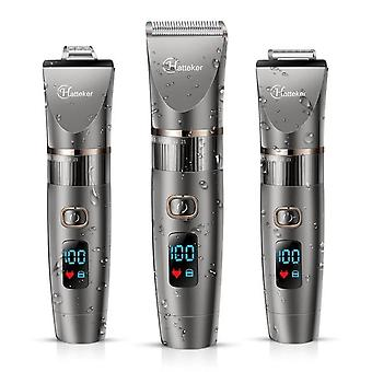 Professional Hair Clipper Waterproof Hair Trimmer for Men Grooming Kit Ceramic Blade LED Display