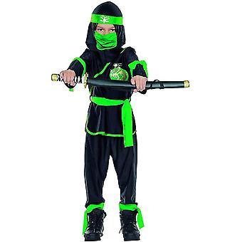 Schattenkrieger schwarz grün Kinder Ninja Krieger Kostüm Gewand NinjaKostüm 5-teilig