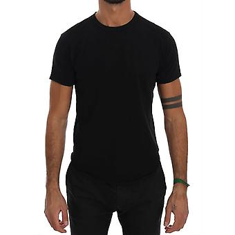 Musta Puuvilla Crewneck T-paita TSH1319-2