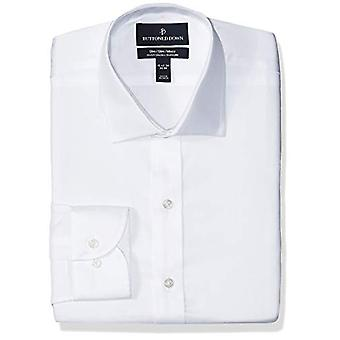BUTTONED DOWN Men's Slim Fit Stretch Twill Non-Iron Dress Shirt, White, 15.5