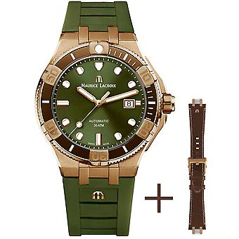 Maurice Lacroix Aikon Venturer Limited Edition Automatic Green Dial Leather Strap Watch AI6058-BRZ01-630-1
