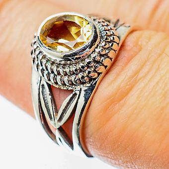 Faceted Citrine Ring Size 7 (925 Sterling Silver)  - Handmade Boho Vintage Jewelry RING25633