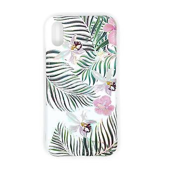 IPhone XR stöttåligt skal med hållare TPU Vit/blommig