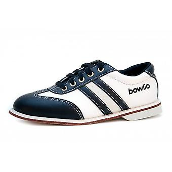 Bowlio Torino leather bowling shoes in black white with leather sole