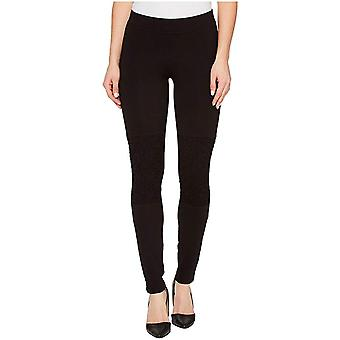 HUE Women's Lace Knee Cotton Leggings, Black