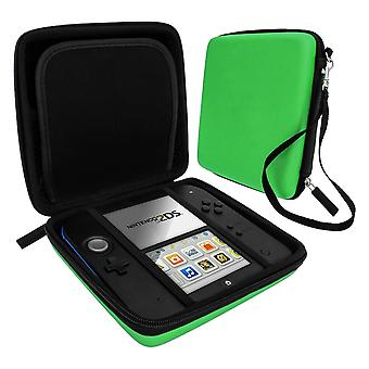 Zedlabz hard protective eva travel carry case for nintendo 2ds with built in game storage - green