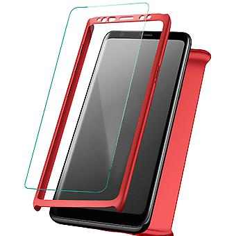 Front-back Bumper + Glass for Samsung Galaxy S10 Plus 360 Smooth Plastic Red