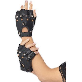 Adult Studded Punk Gloves 80s Rock Michael Jackson Bad Fancy Dress