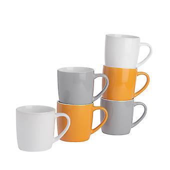 Tee-Kaffeebecher - 6pc zeitgenössische farbige Keramik Tassen Set - 350ml - gelb grau weiß