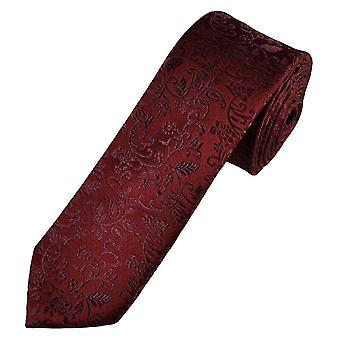 Slipsar Planet Gold Label Bourgogne Självblad mönstrade män's Silk Skinny Tie