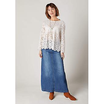Andrea long stonewash denim skirt