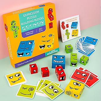 "Children""s Cube Building Blocks Educational, Face-changing Games Interactive"