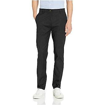 Brand - Goodthreads Men's Slim-Fit Wrinkle-Free Comfort Stretch Dress Chino Pant, Black Pinstripe, 42W x 28L