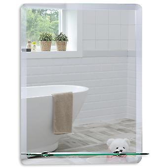 Rectangular Wall Mirror 60 x 45cm Shelf & Demister
