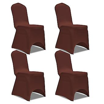 Stretch chair cover 4 pieces brown