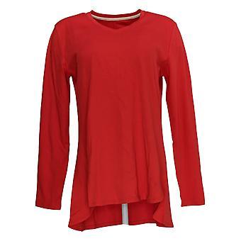 Isaac Mizrahi Live! Women's Top Essentials V-Neck Hi-Low Hem Red A343365