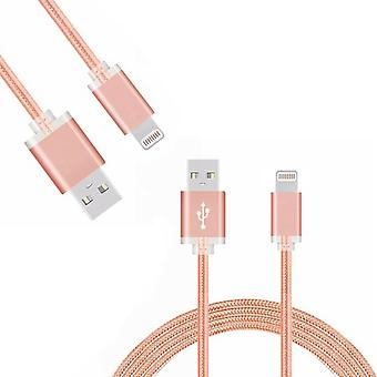 FX Braided iPhone USB Data Cable - 1m - Rose Gold