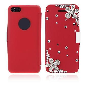 Flip Leather Bling Flower Case Cover PU Skóra do iPhone'a 5 5s Red